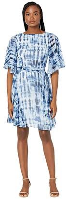 Lauren Ralph Lauren Mandie Elbow Sleeve Day Dress (Navy/Blue/Multi) Women's Dress