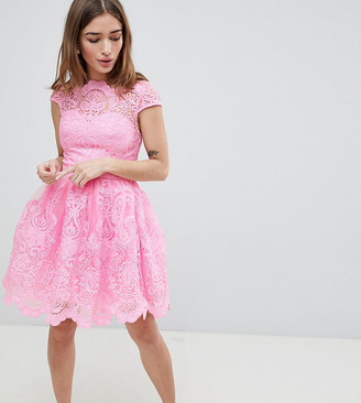 Chi Chi London Premium Lace Mini Dress with Scalloped Neck and Cap Sleeve