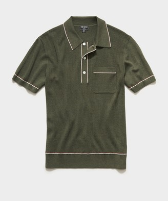Todd Snyder Italian Cotton Silk Tipped Ribbed Polo Sweater in Olive Melange