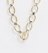 Reclaimed Vintage inspired chain loop necklace in mixed metals