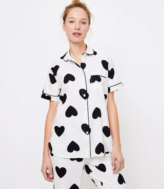 LOFT Petite Heart Pajama Top