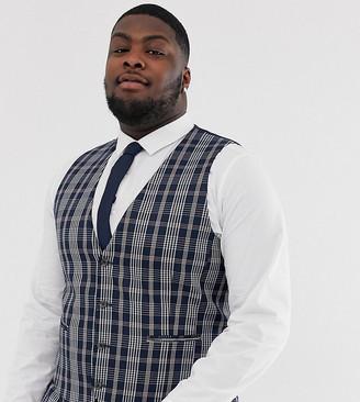 Asos Design DESIGN Plus wedding skinny suit waistcoat in navy tartan check