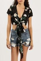 Azalea Floral Tie Front Crop Top