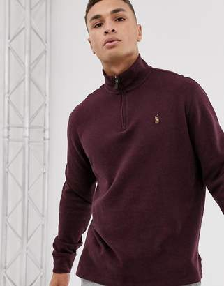 Polo Ralph Lauren half zip knitted jumper in burgundy with multi player logo-Red