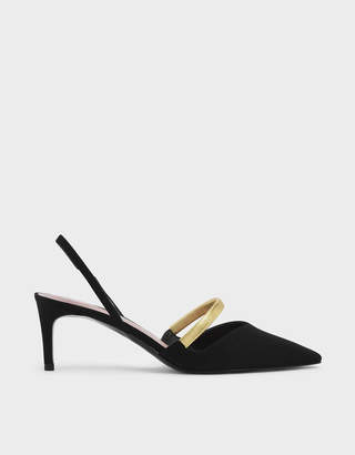 Charles & Keith Gold Mary Jane Strap Textured Slingback Heels