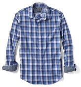 Banana Republic Grant-fit Blue Check Custom Wash Shirt