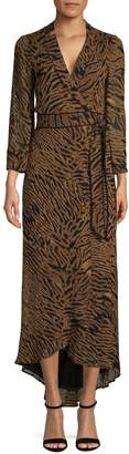 Ganni Animal-Print High-Low Wrap Dress