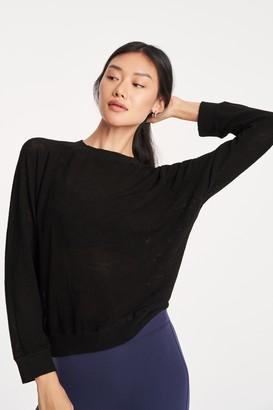 Monrow 100% Cotton Mesh Raglan Pullover