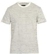 Rag & Bone - Railroad Stripe Cotton Blend T Shirt - Mens - White Multi