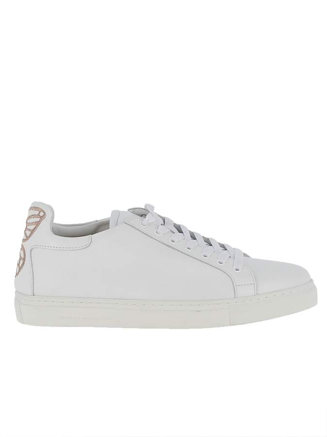 Sophia Webster White Leather Bibi Low Top Sneakers