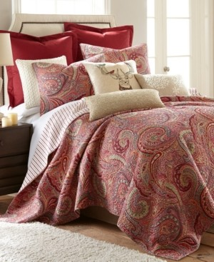 Levtex Spruce Red Paisley Reversible King Quilt Set