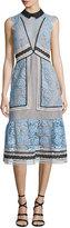 Self-Portrait Sleeveless Paneled Lace Midi Dress, Blue/Black/White
