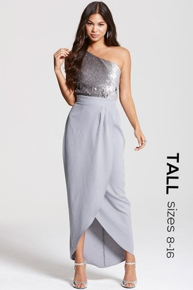 Tall Grey and Gunmetal Heavily Embellished Wrap Over Dress