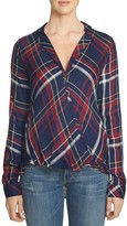 1 STATE 1.STATE Draped High/Low Plaid Top