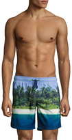"Sundek Island Photo 16"" Elastic Waist Swim Shorts"