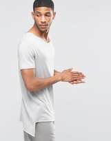Asos Super Longline T-Shirt With Curved V Neck And Pointed Hem