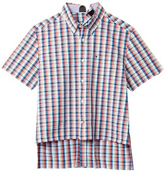 Tommy Hilfiger Adaptive Seated Fit Plaid Short Sleeve Shirt (Exotic Coral) Men's Short Sleeve Button Up