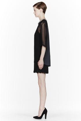 3.1 Phillip Lim Black Trompe l'oeil Beaded collar T-Shirt dress