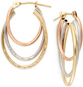 Macy's Tri-Tone Graduated Hoop Earrings in 10k Gold