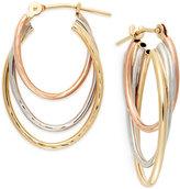 Macy's Tri-Tone Graduated Hoop Earrings in 10k Gold