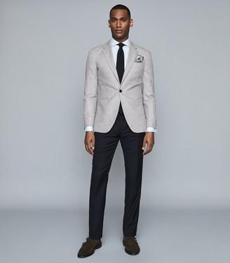 Reiss General - Checked Slim Fit Blazer in Soft Grey