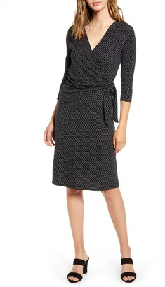 Loveappella Dot Print Wrap Midi Dress