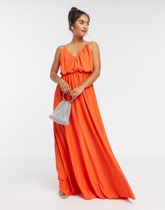 ASOS DESIGN cami plunge maxi dress with blouson top in orange