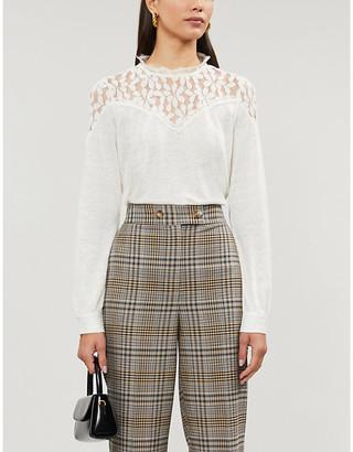 Claudie Pierlot Tavae lace and linen top