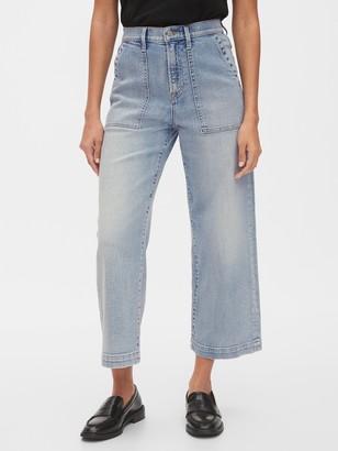 Gap High Rise Utility Wide-Leg Crop Jeans