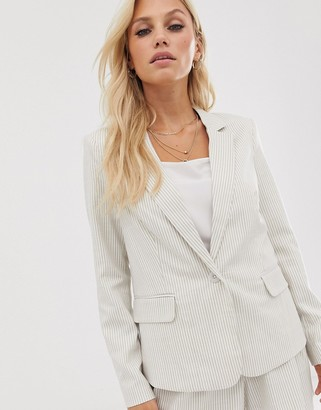 Vero Moda stripe linen blazer-Cream
