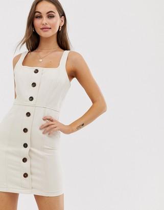 Asos Design DESIGN denim mini dress with buttons-Beige