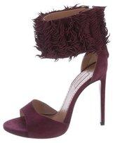 Alaia Fringe-Trimmed Ankle Strap Sandals