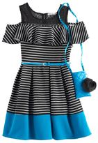 Knitworks Girls 7-16 Striped Cold-Shoulder Skater Dress with Crossbody Purse