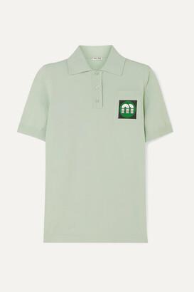 Miu Miu Appliqued Stretch-knit Polo Shirt - Mint