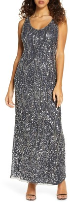 Pisarro Nights Sequin & Bead Sleeveless Gown