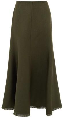 Gabriela Hearst Amy Fluted Wool-blend Midi Skirt - Womens - Khaki