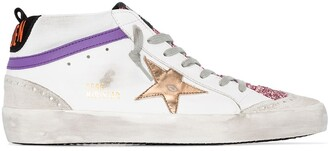 Golden Goose Mid-Star logo-patch sneakers