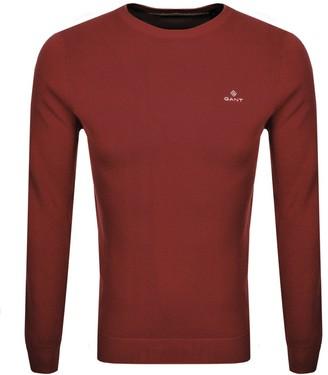 Gant Crew Neck Pique Knit Jumper Red