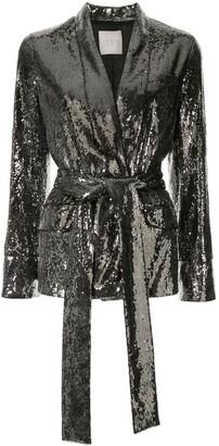 Ingie Paris Sequin Belted Blazer