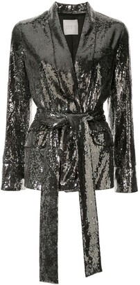 Ingie Paris Sequin Belted Blazer