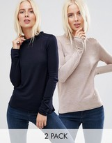 Asos Sweater With Crew Neck in Soft Yarn 2 PACK