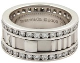 Tiffany & Co. 18K White Gold Diamond Atlas Roman Band Ring