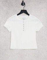 Thumbnail for your product : Lost Ink slim fit ribbed T-shirt in white