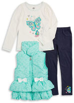Kids Headquarters Girls 2-6x Floral Vest, Butterfly Tee and Leggings Set