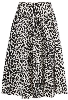 Batsheva Leopard-print Velvet Midi Skirt - Leopard