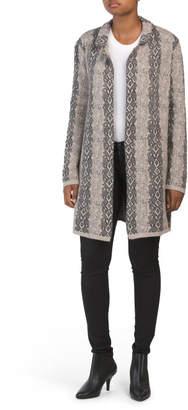 Wool Blend Notch Python Open Cardigan