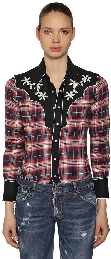DSQUARED2 Rodeo Cotton Plaid Shirt