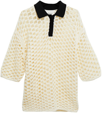 3.1 Phillip Lim Two-tone Open-knit Wool Polo Shirt