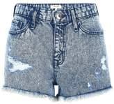 River Island Womens Blue acid wash ripped denim shorts