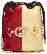 Gucci Zumi Colour-block Elaphe Cross-body Bucket Bag - Womens - Red